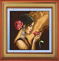 Набор для рисования камнями (холст) Испанка с цветком LasKo