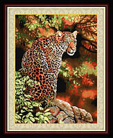Набор для рисования камнями (холст) Взгляд леопарда LasKo