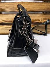 Женский клатч под рептилию черного цвета с регулируемым ремешком, фото 2