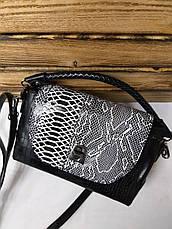Женский клатч под рептилию черного цвета с регулируемым ремешком, фото 3