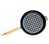 Сковорода с рифленым дном 23х4.0см чугунная Fissman