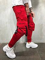 Мужские штаны-карго спортивные красные  , фото 1