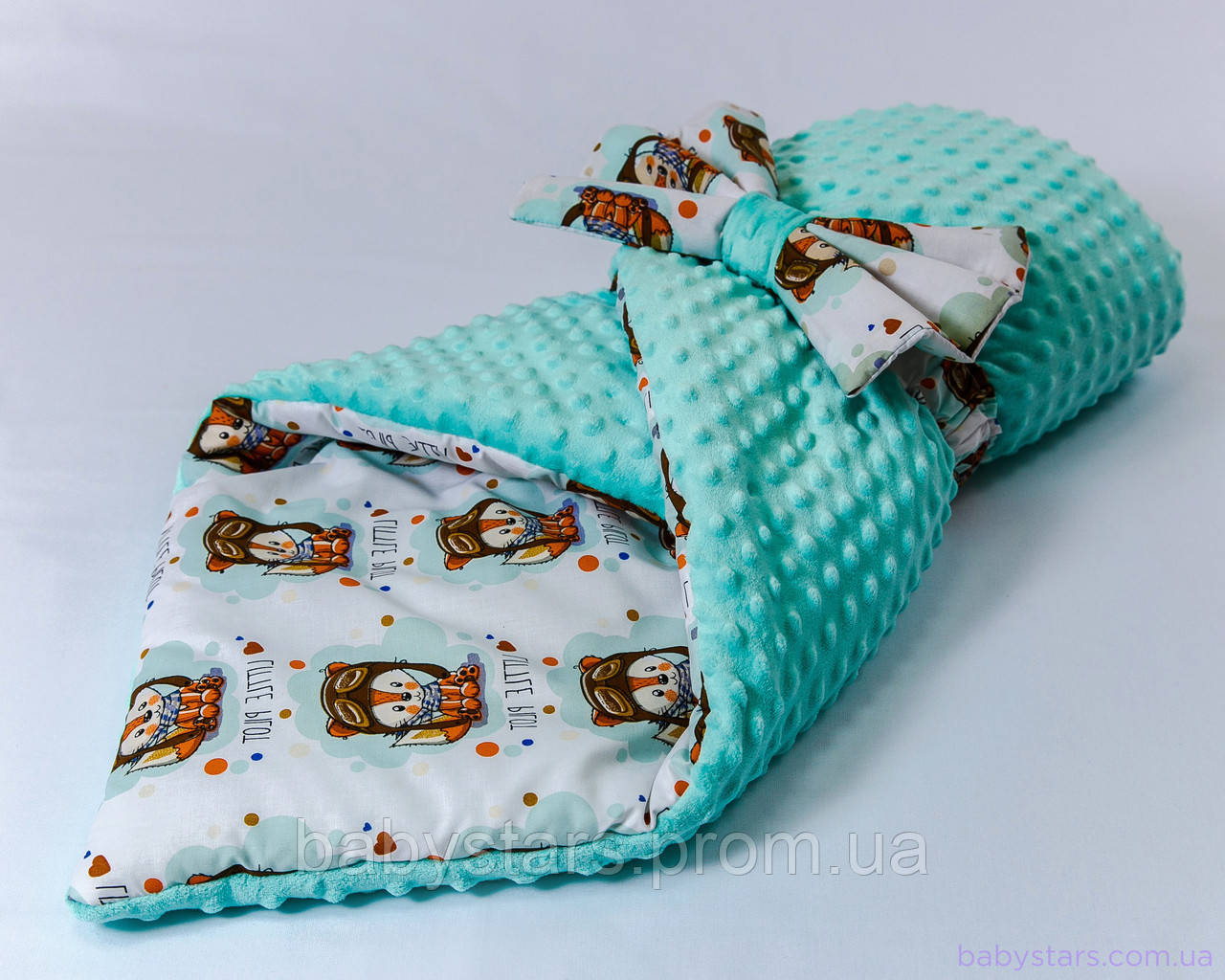 "Одеяло конверт плюшевое 78х85 см, ""Лисенок пилот"""