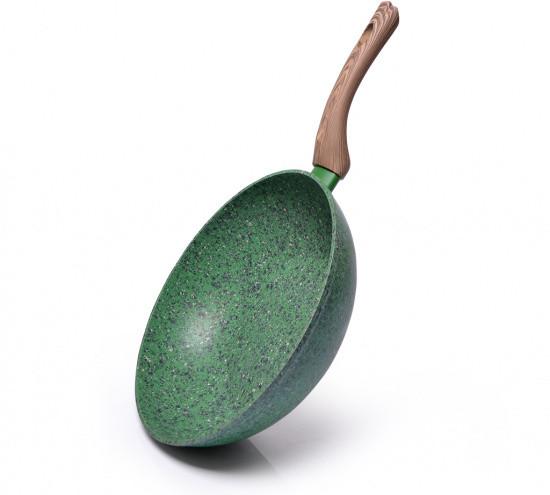 """Сковорода WOK """"Malachite"""" 24х7см алюминиевая с каменным антипригарным покрытием Fissman"""