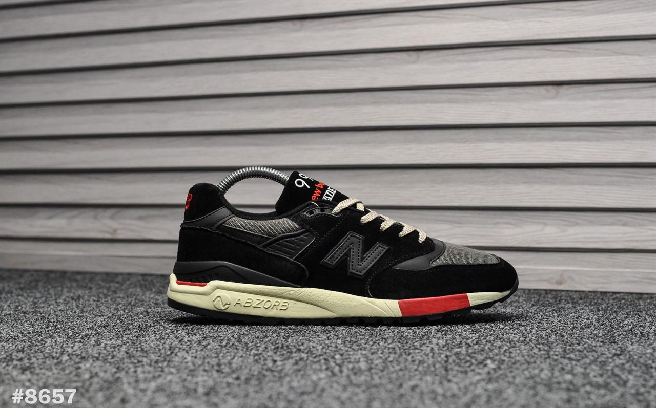 Мужские кроссовки New Balance 998 Black Red. Натуральная замша. Рефлектив. Подошва ABZORB