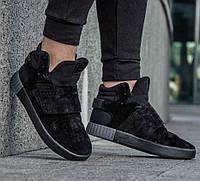 """Кроссовки мужские черные замшевые Adidas Tubular Invader Strap Black """"Черные"""" адидас тубулар"""