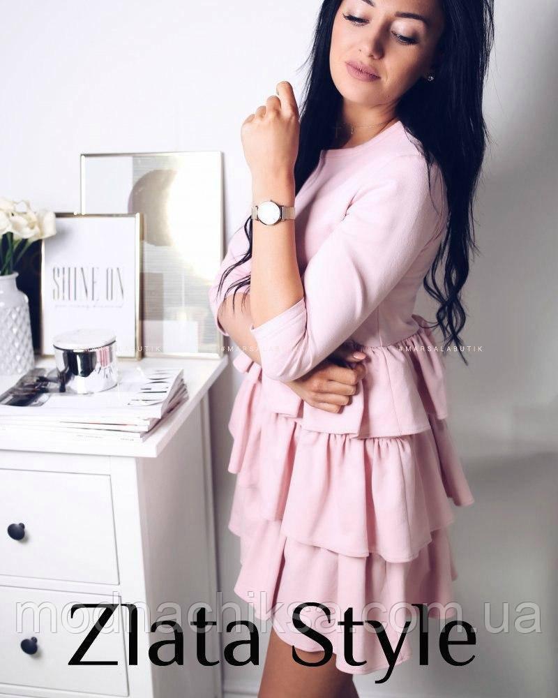 Платье волан розовое