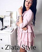 Платье волан розовое, фото 1