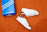 Мужские белые в стиле кроссовки Adidas Stan Smith (White/black), (Реплика ААА), фото 2