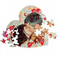Фото печать на пазлах сердце А4