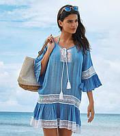 Женское пляжное платье туника бирюзовая 2269, фото 1