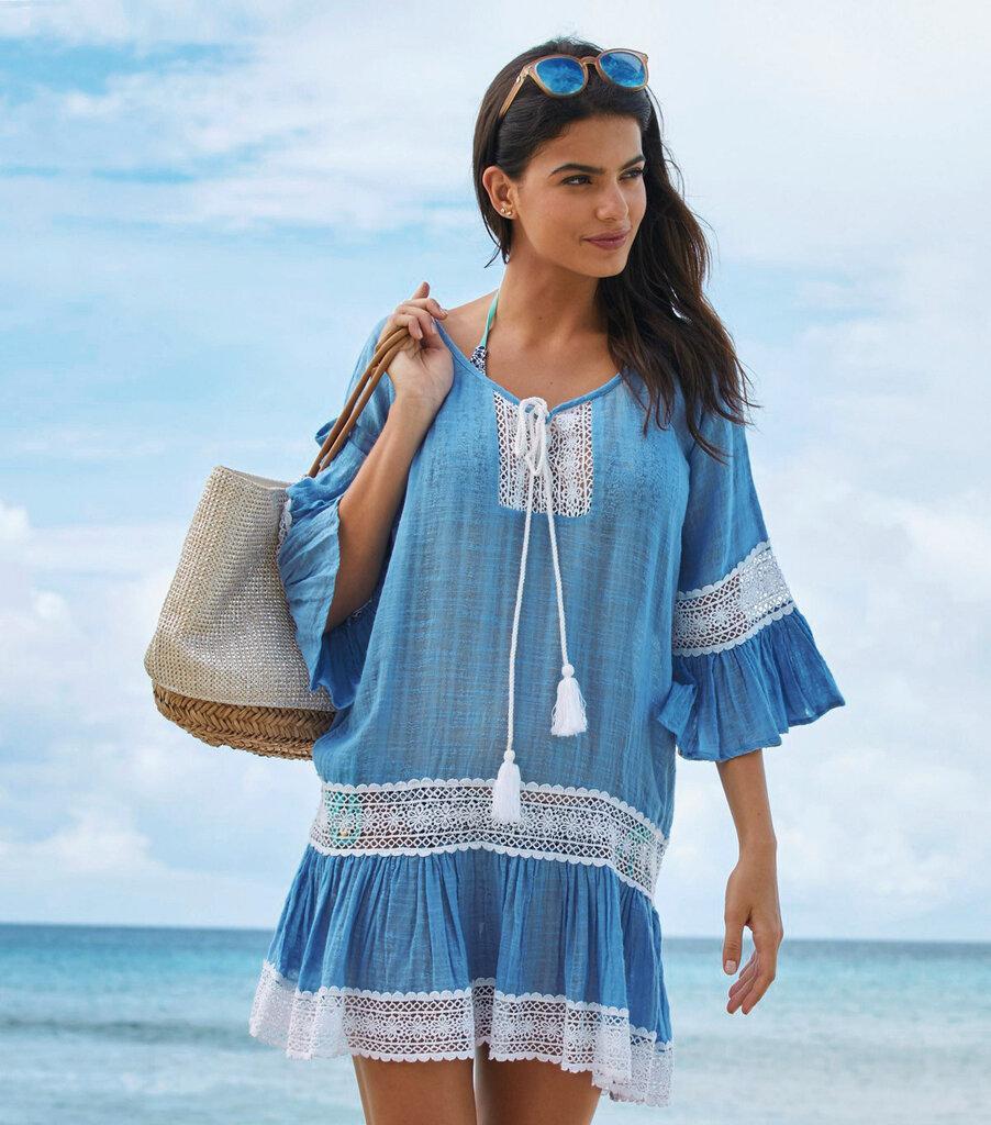 Женское пляжное платье туника бирюзовая 2269