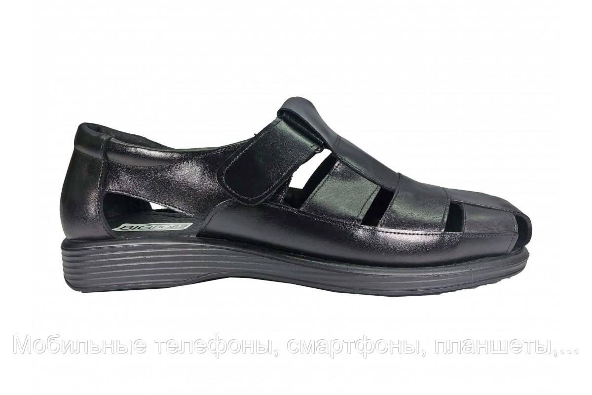 720b86af5 Удобные мужские кожаные черные сандалии босоножки Big Boss огромных больших  размеров 46 47 48 49 50