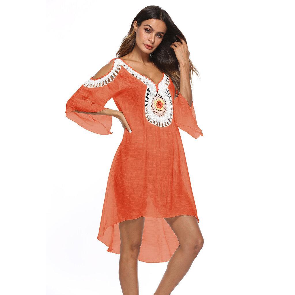 Пляжное платье туника оранжевая 2270