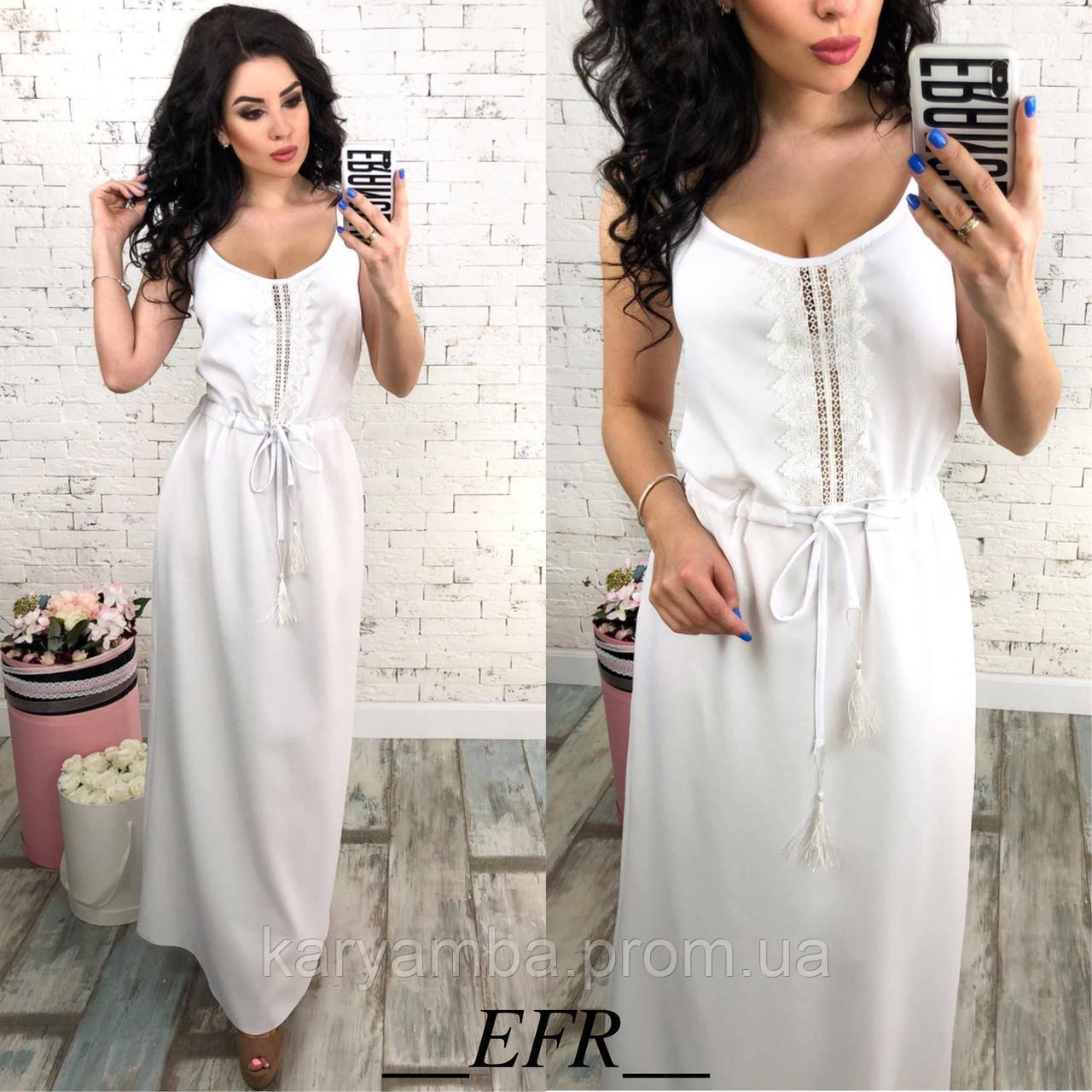 ba1c8894f64 Летнее длинное платье с кружевом. Белое