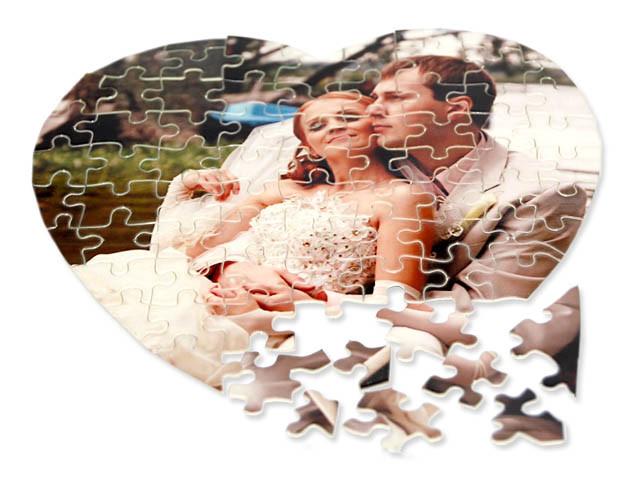 Фото печать на пазлах Сердце А3