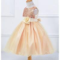 Платье  Бежевое в пайетках, с цветком на пояске 140, фото 1