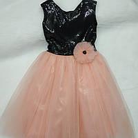 0950d7edf55 Нарядное платье для девочки (черная паетка с юбкой чайная роза) 7-8 лет