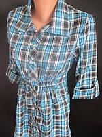 Легкие женские рубашки с длинным рукавом в клетку., фото 1