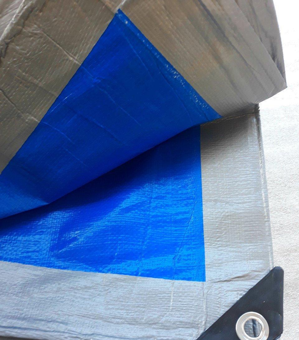 Тент тарпаулин ПВХ покрытие  3х4 м, плотность  180 г/м, серо-синий