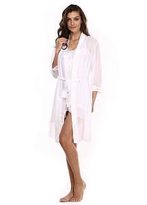 Женский атласный пеньюар с халатом