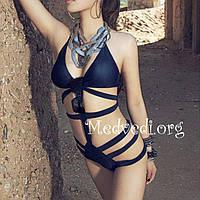 Синий сдельный купальник, женский, монокини, размер S