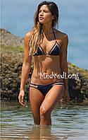 Модный раздельный женский купальник, синего цвета, с сеткой, размер L, на худеньких