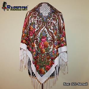 Павлопосадский белый платок Адель