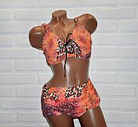 Женский раздельный размер 64 оранжевый купальник большого размера, леопардовый принт, на завязках