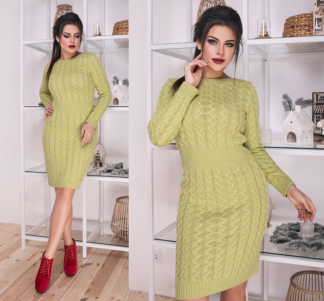 тёпленькое вязаное платье фисташковое 4 цвета р р 48 52 цена