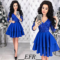 Платье с гипюром. Синее, 5 цветов.
