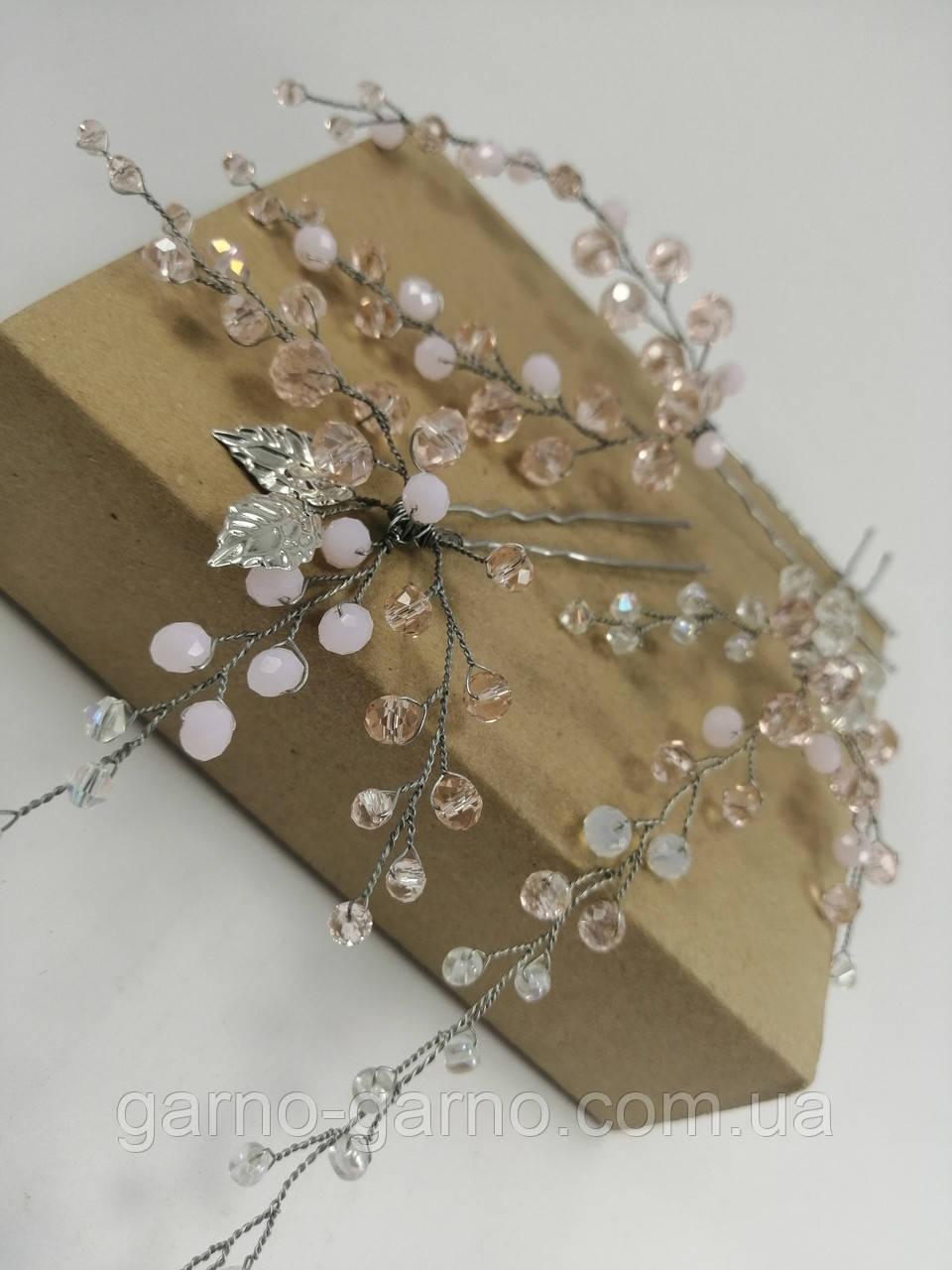 Комплект из Шпилек для волос Розовый веточки хрустальные
