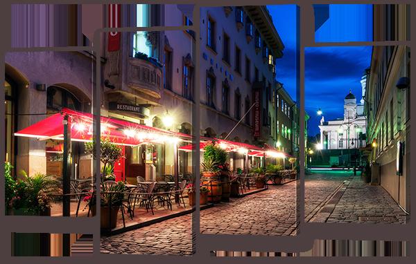 Модульная картина Interno Эко кожа  Вечерняя улица 126x80см (A920L)
