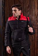 Куртка мужская в стиле Nike демисезонная весенняя осенняя / черно-красная