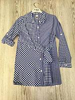 Сорочка подовжена для дівчинки на 7-12 років синього кольору в клітку оптом