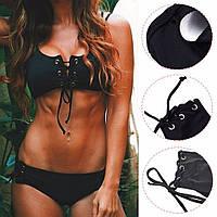 Раздельный купальник размер 46, L на завязках, черный, шнуровка, женский