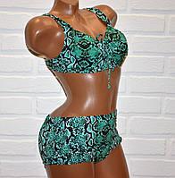 Большой 58 размер для пышных женщин, раздельный зеленый купальник батал, змеиная кожа принт, на шнуровке