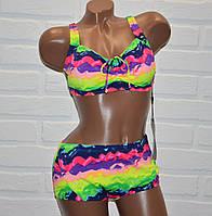Большой размер 62 (8XL) яркий, красочный женский раздельный купальник батал