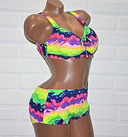 Большой размер 60 (7XL) яркий, красочный женский раздельный купальник для пышной груди