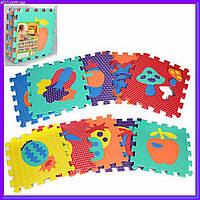 Игровой коврик Мозаика Овощи, фрукты, 10 деталей, 31,5*31,5 см, M 2622