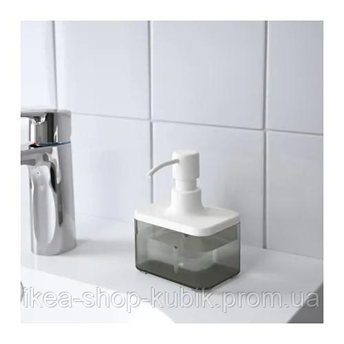 ИКЕА BROGRUND Дозатор для жидкого мыла, прозрачный серый, белый 2
