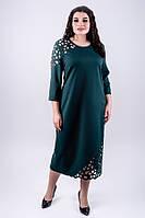 Платье прямого кроя Дорис с перфорацией длины миди большого размера 52-60 батал зеленое, фото 1