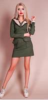 Платье женское спортивного стиля цвет хаки, платье с накладными карманами