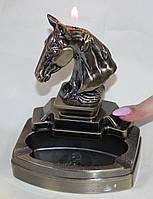Пепельница настольная металлическая, с зажигалкой, голова коня