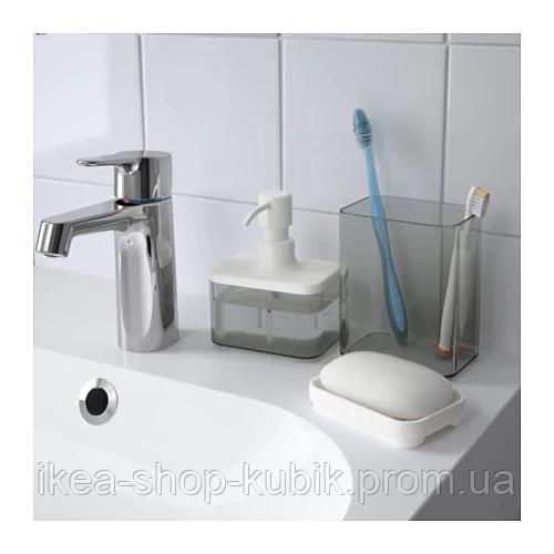 ИКЕА BROGRUND Дозатор для жидкого мыла, прозрачный серый, белый 3