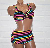Большой 60 размер 7XL раздельный яркий женский купальник в полоску, на завязках