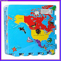 Игровой коврик Мозаика Карта мира, 6 деталей, 31,5х31,5 см M 2612 EVA