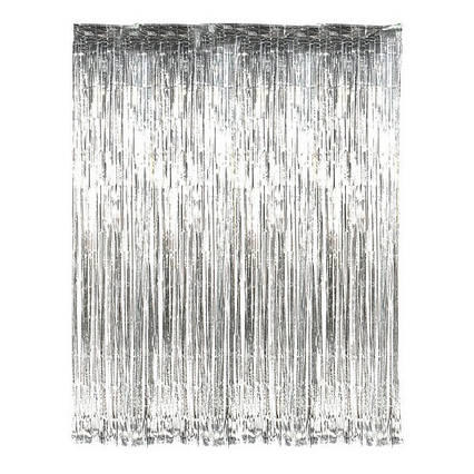 Шторка занавес из фольги для фото зон    СЕРЕБРО 1х2 метра