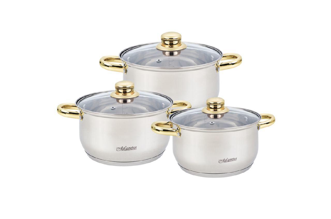 Набор посуды нержавеющий Maestro - 2 х 3 х 4 л, (3 шт.) MR-2006-6M