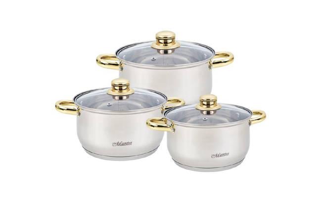Набор посуды нержавеющий Maestro - 2 х 3 х 4 л, (3 шт.) MR-2006-6M, фото 2